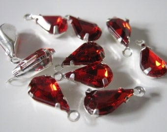 10 Red Acrylic Rhinestone Teardrop Charms
