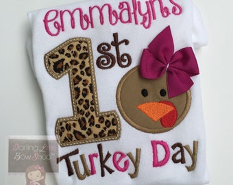 Baby Girl First Thanksgiving Bodysuit or shirt -- Turkey Day Glam -- fuchsia and leopard print personalized and great for Thanksgiving