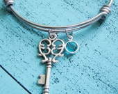 gift for best friend, wife gift, best friend bracelet, heart key, friends bracelet, bff gift, birthstone jewelry bracelet, sister gift
