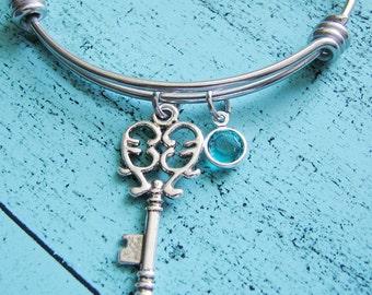gift for best friend, wife gift, best friend bracelet, heart key, friends bracelet, bff gift, birthstone jewelry bracelet, sister gift