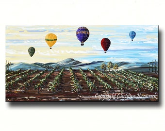 ORIGINAL Large Art Abstract Oil Painting Vineyard Wall Decor Wall Hangings Hot Air Balloons Wine Wall Art Textured 24x48 Christine Krainock