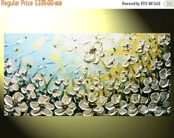 ON SALE 20% SALE Original Art Abstract Painting White Flowers Large Art Wall Decor Poppies Textured Palette Knife Blue Gold Ready to Ship- C