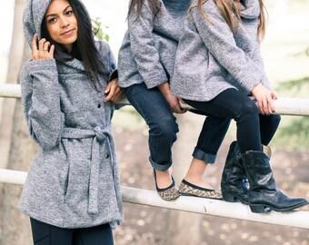 Cozy sweater jacket windproof coat waterproof coat hooded jacket the swacket