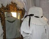 Shabby gypsy white floppy hat, gypsy boho, bohemian, hippie