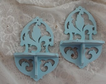 Vintage shelves, teal blue, victorian look, shabby chic, shabby cottage
