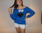 Slouchy Scoop Tunic Sesame Street Cookie Monster Fleece Sweater Pullover Sweatshirt - Sizes S M L XL
