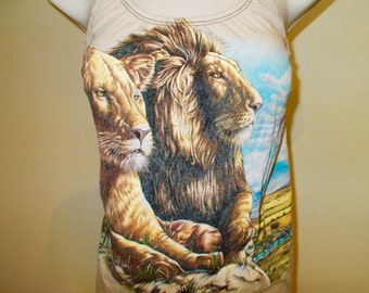 Women's custom diy  Wild Lion's Safari halter top  - Size MEDIUM