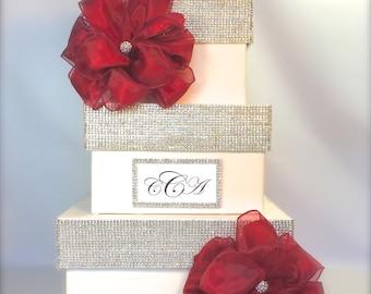 Bling Wedding Card Box Cream and SilverRhinestones Wedding Card Holder, Secured Lock Wedding Card Box  Off White Wedding Card Box