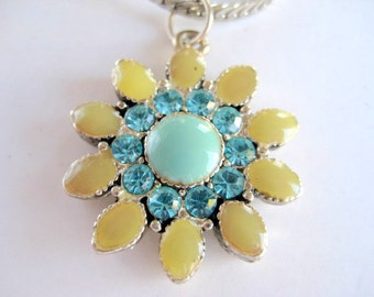 Flower Pendant in Yellow and Aqua with Rhinestone Detail on Chain