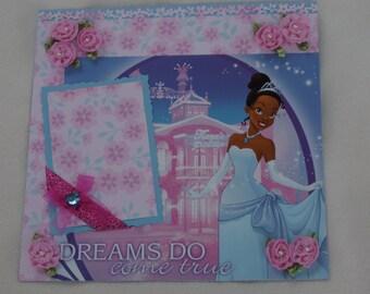 Disney Princess Birthday Tiana Princess and the Frog Ariel Belle Rapunzel Cinderella Snow White 12x12 Premade Scrapbook Page by KARI