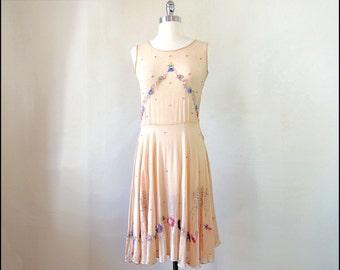 1920's Peach Beaded Silk Crepe Dress with Rhinestones