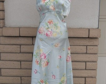 Vintage 50s 60s Floral Nightgown w/Ruching . Baby Blue Satin Rose Print by Mode O'Day L-XL