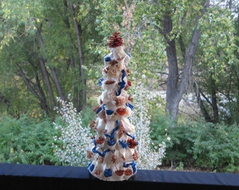 Artificial Christmas Tree, Table Top Tree, Decorated Christmas Tree, Minature Tree, Mantle Tree, Orange and Blue, White, Center Piece Tree