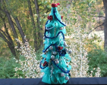 Artificial Christmas Tree, Table Top Tree, Decorated Christmas Tree, Minature Tree, Indoor Decoration, Mantle Tree, Blue, Center Piece Tree