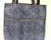 Blue denim cotton tote shoulder bag shopper color removal print medallion fancy motif flourish front pockets
