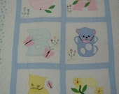 RESERVE for Roxie: vintage Baby Quilt hand embroidered, applique and embellished  Apple Bear Cat with original maker's label