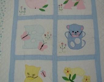 Vintage Baby Quilt: hand embroidered, applique and embellished  Apple Bear Cat with original maker's label