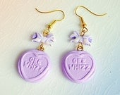 Sweet Heart Earrings,Choice Of Colour and Slogan Fairy Kei Sweets with Pegasus