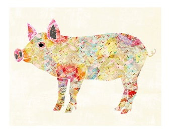 Pigs, Piglet Art, Colorful Farm Animals Wall Art, Kitchen Bathroom Bedroom Wall Art, Bohemian Pig, Unique Colorful Wall Decor, LilyCole