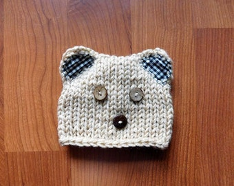 Knit baby Bear Hat  Photography Prop Ready Item