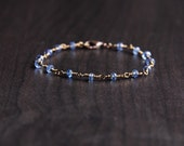 Blue Kyanite Bracelet, Blue Stone Jewelry, bronze wire wrapped jewelry, dainty bracelet