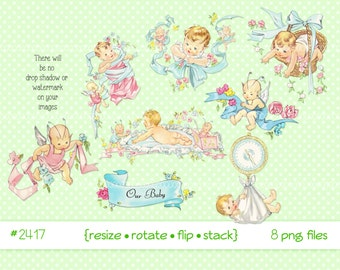 Digital Clipart, instant download, vintage baby babies clip art, infant, fairy, elf, child, flowers, ribbons, printable png files 2417
