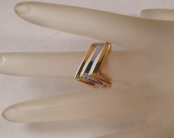Vintage Gold and Silver Abstract Ring United States Ring Size 6 Setting is 5/8 Inches Wide Previously 20 Dollars ON SALE