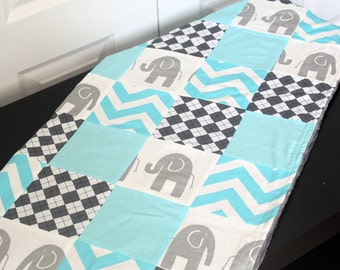 Baby Blanket, Modern Baby Quilt - Grey Elephant and Aqua Blue Baby Blanket