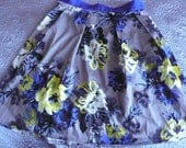 Vintage floral flared skirt blues greys yellow  uk 14 , us 10