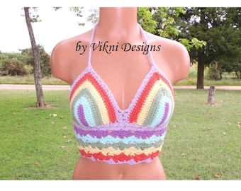 Crochet Rainbow Top, Pastel Rainbow Hippie Gypsy Bohemian Crop Top by Vikni Designs