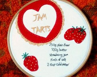 Jam Tart Embroidery. Retro Baking. Valentine Heart.