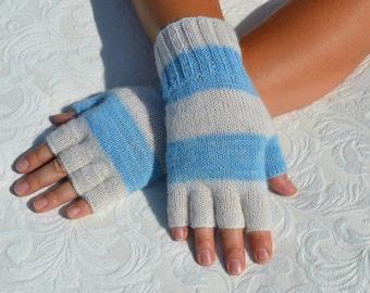 Hand-knitted half finger gloves, white and blue gloves