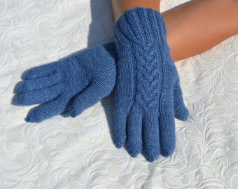 Hand-knitted blue gloves (with fingers)