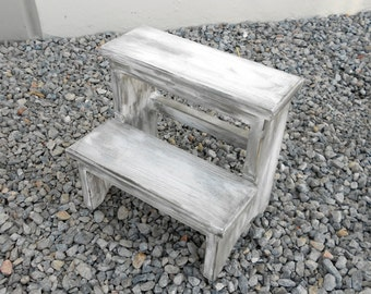 14 Inch Tall Handcrafted Pine Step Stool Rustic/Distressed White & 10 Inch Tall Handcrafted Pine Step Stool Rustic/Distressed islam-shia.org