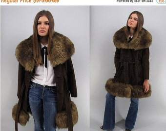 On Sale - Vintage 60s Suede Shearling Coat, Leather Fur Coat, Boho Coat, Hippie, Bohemian, Belted Suede Coat, Mod Suede Coat Δ size: sm / md
