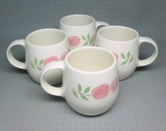 Vernon Kilns Vernonware ROSE A DAY  coffee mugs , set of four