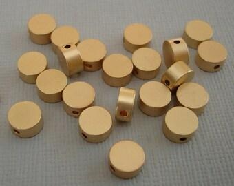 6pcs- Matte Gold Flat Round Beads, Wholesale  Brass Beads, Beading Supplies, Jewelry Making(6x3mm).