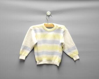 Vintage Baby Clothes, 1960's Petit Bateau White, Blue and Yellow Baby Sweater, Vintage Baby Sweater, Size 12 Months