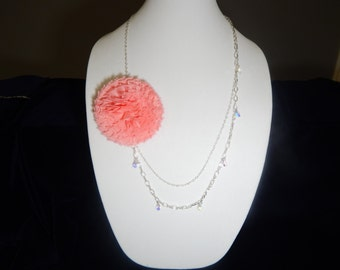 Pink Flower and Crystal Dangle Necklace