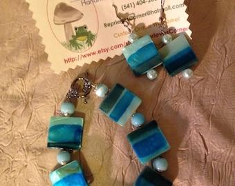 Abstract Sea & Sky-- Handmade Bracelet and Earring Set Featuring Rectangular Blue Shell Beads