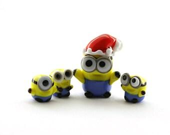 HO-HO-HO! Santa Minion Despicable me  Lampwork  Bead / miniature / sculpture / figurine