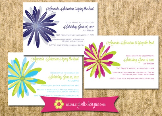 Bridal Shower Invitation Chrysanthemum Flower floral colorful any color wedding DIY printable print party girl bride