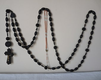 LOURDES Large French Antique Wooden Rosary Carved Beads Oversized Catholic Rosary.