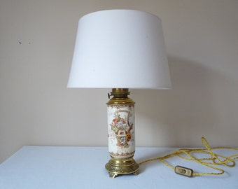 adjusted US Bulb - 19th French Antique Table Lamp Superb Louis XVI Style French lighting Flowers French Home Decor French Oil Lantern