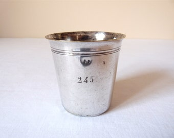 French Antique Tumbler silverware SILVER TUMBLER Lovely french silver plated tumbler - can be a vase Industrial