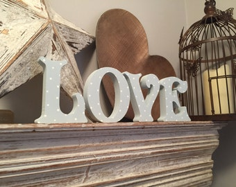 Wooden Letters - Hand-painted - LOVE - Victorian, Free-standing, 28cm