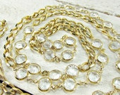 Vintage Bezel Set Crystal Necklace, Clear SWAROVSKI Crystal Elements, Chunky Long Gold Chain Necklace, 1980s 80s Prom Jewelry Accessories