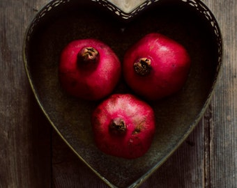 kitchen art, pomegranate art, red decor, rustic wall art, food photograph, still life, romantic wall art,fine art photo,red fruit art