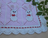 Crochet Pink Baby Blanket with bunny, rabbits for little girl / Easter Bunny