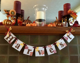 Thanksgiving Decorations HARVEST Banner Fall Decor Thanksgiving Banner Mantle Garland Photo Prop